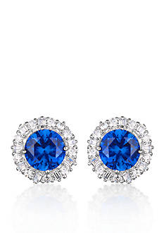 Belk & Co. Platinum-Plated Sterling Silver Synthetic Sapphire Cubic Zirconia Earrings