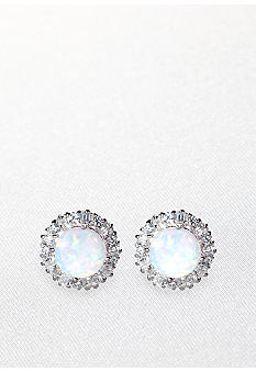 Belk & Co. Platinum Plated Sterling Silver Simulated Opal and Cubic Zirconia Earrings