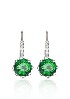 Belk & Co. Platinum Plated Sterling Silver Simulated Emerald Cubic Zirconia Earrings