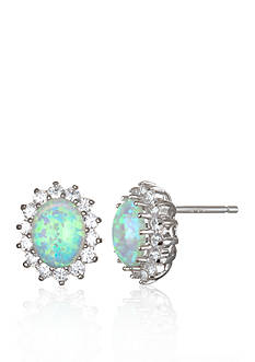 Belk & Co. Platinum Plated Sterling Silver Simulated White Opal and Cubic Zirconia Earrings