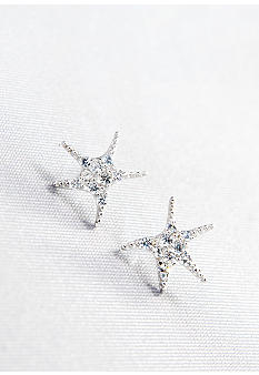 Belk & Co. Platinum Plated Sterling Silver White Cubic Zirconia Starfish Earrings