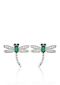 Belk & Co. Platinum Plated Sterling Silver Simulated Emerald Cubic Zirconia Dragonfly Earrings