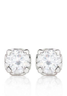Belk & Co. Platinum Plated Sterling Silver Synthetic Ruby and Cubic Zirconia Stud Earrings
