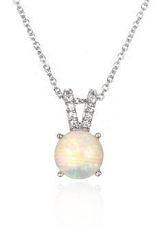 Belk & Co. Platinum Plated Sterling Silver Simulated White Opal Cubic Zirconia Pendant