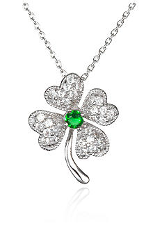 Belk & Co. Platinum Plated Sterling Silver Simulated Emerald and Cubic Zirconia Clover Pendant