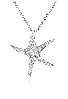 Belk & Co. Platinum Plated Sterling Silver Cubic Zirconia Starfish Pendant