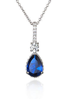 Belk & Co. Platinum Plated Sterling Silver Synthetic Sapphire Cubic Zirconia Pendant