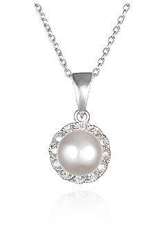 Belk & Co. Platinum Plated Sterling Silver Freshwater Pearl and Cubic Zirconia Pendant