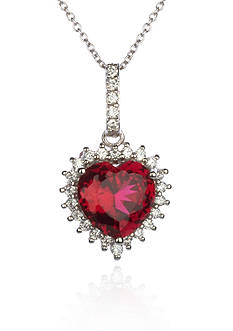 Belk & Co. Platinum Plated Sterling Silver Synthetic Ruby Cubic Zirconia Heart Pendant