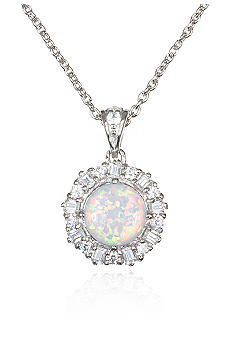 Belk & Co. Platinum Plated Sterling Silver Simulated Opal and Cubic Zirconia Pendant