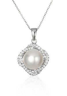 Belk & Co. Platinum-Plated Sterling Silver Freshwater Pearl and Cubic Zirconia Pendant