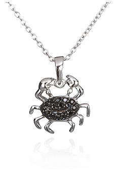 Belk & Co. Platinum Plated Sterling Silver Cubic Zirconia Black Crab Pendant