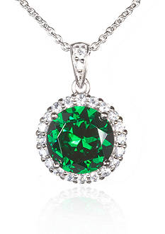 Belk & Co. Platinum-Plated Sterling Silver Simulated Emerald Cubic Zirconia Pendant