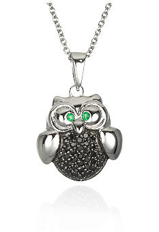 Belk & Co. Platinum Plated Sterling Silver Cubic Zirconia Owl Pendant
