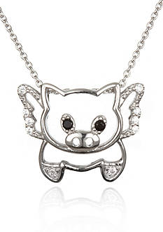 Belk & Co. Platinum Plated Sterling Silver Black and White Cubic Zirconia Flying Pig Pendant