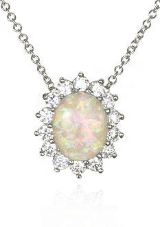 Belk & Co. Platinum-Plated Sterling Silver Simulated White Opal Cubic Zirconia Pendant