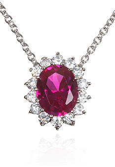 Belk & Co. Platinum Plated Sterling Silver Simulated Ruby and Cubic Zirconia Pendant