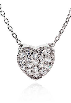 Belk & Co. Platinum Plated Sterling Silver Cubic Zirconia Mini Heart Pendant