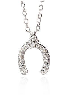 Belk & Co. Platinum Plated Sterling Silver Cubic Zirconia Mini Wish Bone Pendant