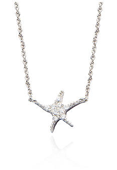 Belk & Co. Platinum Plated Sterling Silver White Cubic Zirconia Starfish Pendant