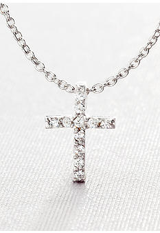 Belk & Co. Platinum Plated Sterling Silver Cubic Zirconia Mini Cross Pendant