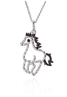 Belk & Co. Platinum Plated Sterling Silver Cubic Zirconia Mini Horse Pendant