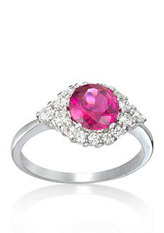 Belk & Co. Sterling Silver Platinum Plated Synthetic Ruby and Cubic Zirconia Ring