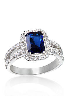Belk & Co. Platinum Plated Sterling Silver Synthetic Sapphire and Cubic Zirconia Ring