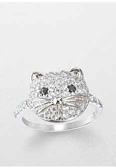 Belk & Co. Platinum Plated Sterling Silver Cubic Zirconia Cat Face Ring