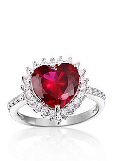 Belk & Co. Platinum-Plated Sterling Silver Synthetic Ruby Heart Cubic Zirconia Ring