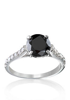 Belk & Co. Platinum-Plated Sterling Silver Black and White Cubic Zirconia Ring