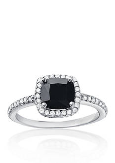 Belk & Co. Platinum Plated Sterling Silver Black and White Cubic Zirconia Ring