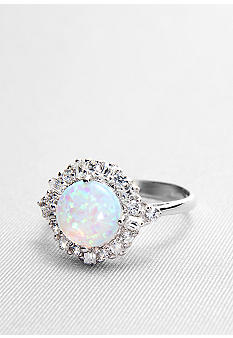 Belk & Co. Platinum Plated Sterling Silver Simulated Opal and Cubic Zirconia Ring
