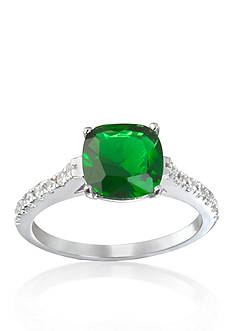 Belk & Co. Platinum Plated Sterling Silver Simulated Emerald Cubic Zirconia Ring