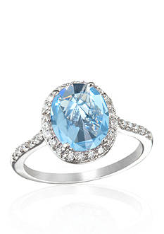 Belk & Co. Platinum-Plated Sterling Silver Simulated Aquamarine Cubic Zirconia Ring