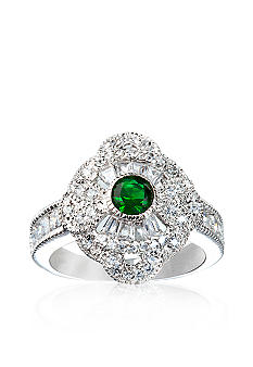 Belk & Co. Platinum Plated Sterling Silver Simulated Emerald Center and Cubic Zirconia Ring