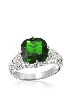 Belk & Co. Platinum Plated Sterling Silver Emerald Cubic Zirconia Ring