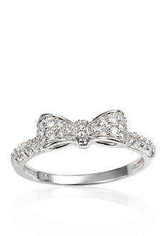 Belk & Co. Platinum Plated Sterling Silver Cubic Zirconia Bow Ring