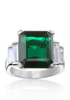 Belk & Co. Platinum Plated Sterling Silver Simulated Emerald and Cubic Zirconia Ring