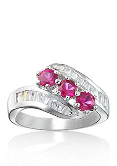Belk & Co. Platinum-Plated Sterling Silver Synthetic Ruby Cubic Zirconia Ring
