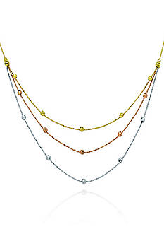 Belk & Co. 14k Tricolor Gold Layered Bead Necklace