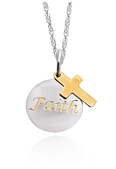 Belk & Co. Sterling Silver with 14k Faith Pendant