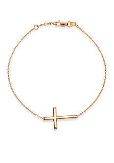 Belk & Co. 14K Rose Gold Sideways Cross Bracelet