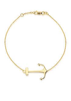 Belk & Co. 14K Yellow Gold High Polish Sideways Anchor Bracelet