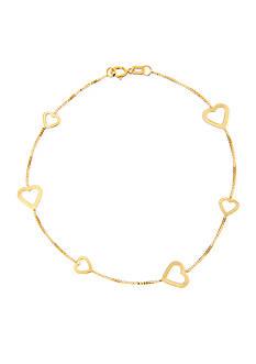 Belk & Co. 14k Yellow Gold Alternating Heart Bracelet