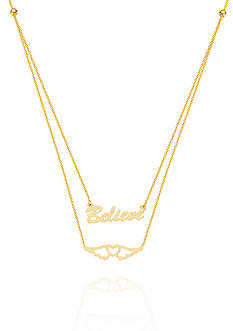 Belk & Co. 14k Yellow Gold Believe in Your Journey Duo Necklace