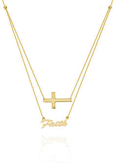 Belk & Co. 14k Yellow Gold Duo East to West Cross and Faith Necklace