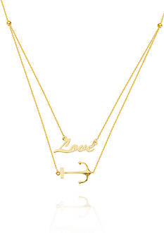 Belk & Co. 14k Yellow Gold Duo Anchor Your Love Necklace