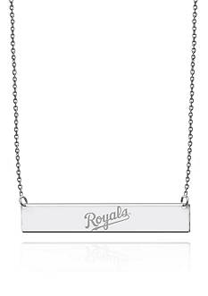Sterling Silver MLB Engraved Kansas City Royals Bar Necklace