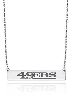 Sterling Silver NFL Engraved San Francisco 49ers Bar Necklace